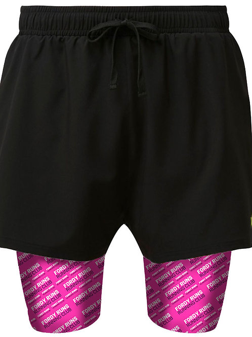 FORDY RUNS Racer Flancia 2 in 1 Double Layer Shorts Pink