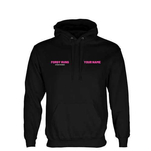 PERSONALISED ZIPPED HOODIE FRONT PINK LOGO BACK
