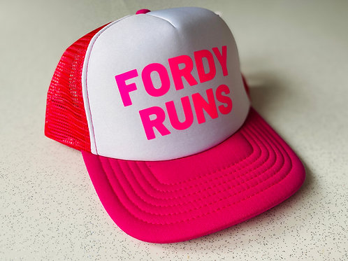 FORDY RUNS SNAP BACK TRUCKER HAT KIDS PINK