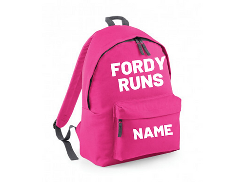FORDY RUNS Personalised Backpack PINK
