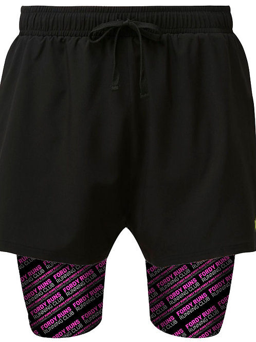 FORDY RUNS Racer Flancia 2 in 1 Double Layer Shorts Black