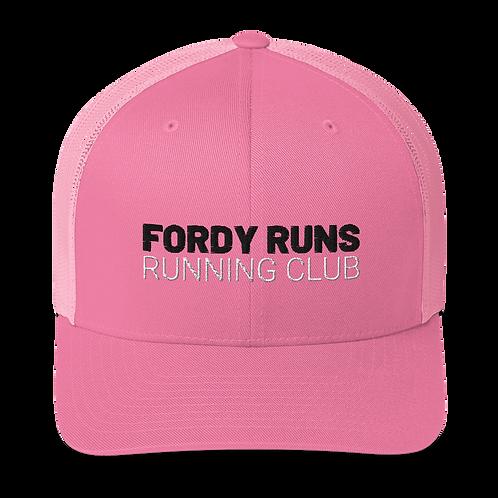 FORDY RUNS Running Club Pink Trucker Cap