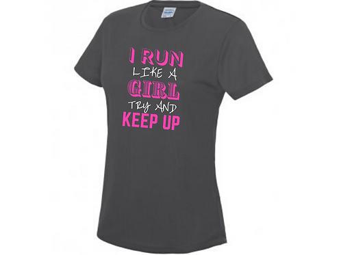 I RUN LIKE A GIRL TECH TOP