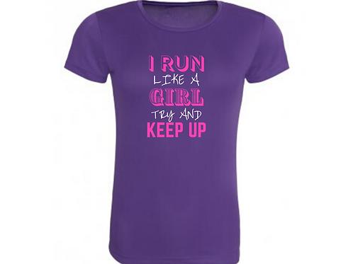 I RUN LIKE A GIRL JUNIOR TECH TOP