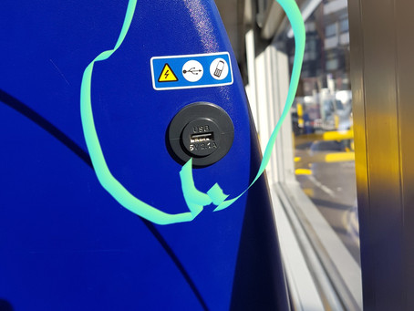 Charging your phone via USB on a London bus…
