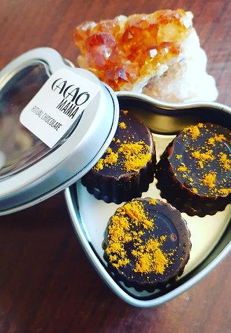 Golden Chai Caramels - heart tin of 3