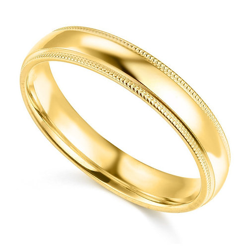 14k Yellow Gold 4-mm Standard-fit Milgrain and polished Wedding Band