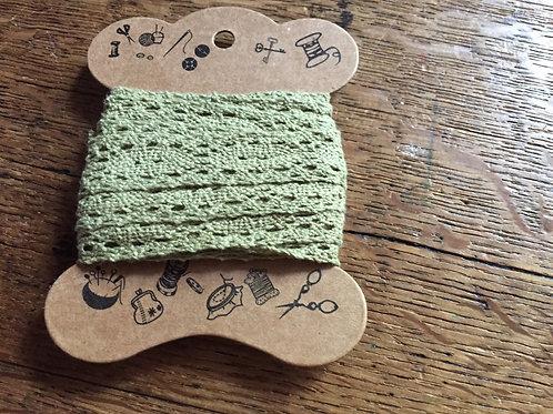Dentelle Vert Amande Coton