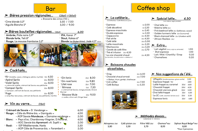 Menu BAR / COFFEE SHOP