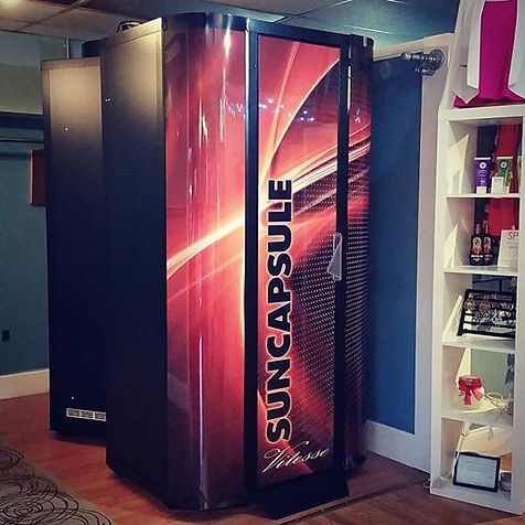 ​​7 Minute High Pressure Tanning. Elevated Floor for Even Head to Toe Tanning. 100% Sweat-Free Tanning.​  1 session $20 - buy 2 get 1 FREE