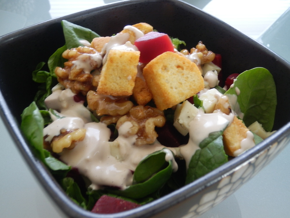 Spinach and Beet Salad with Creamy Balsamic Dressing and Glazed Walnuts