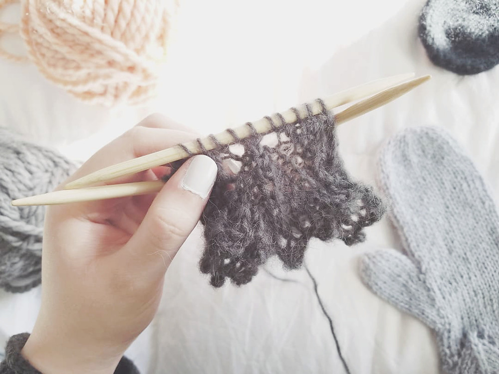 Our Apricity Lace Mittens on the needles | Grey's Posy