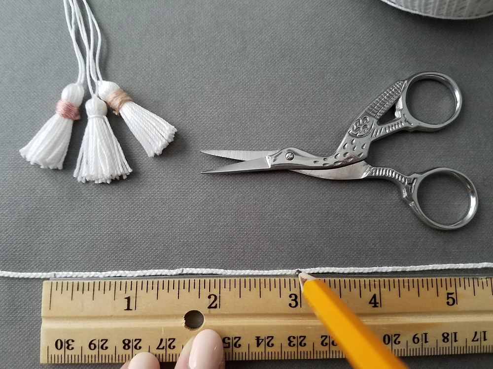 Measuring the Spacing for the Tassel Garland - Grey's Posy
