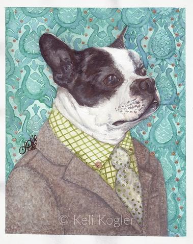 An anthropomorphic Boston Terrier wearing a suit 'Rudy in His Best' by Keli Kogler