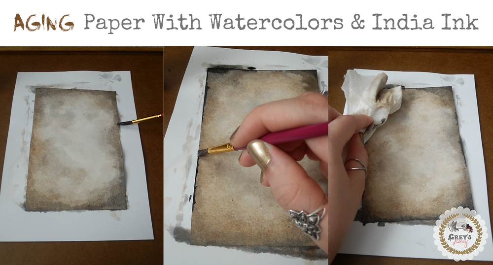 Aging Paper with Watercolors & India Ink - Grey's Posy