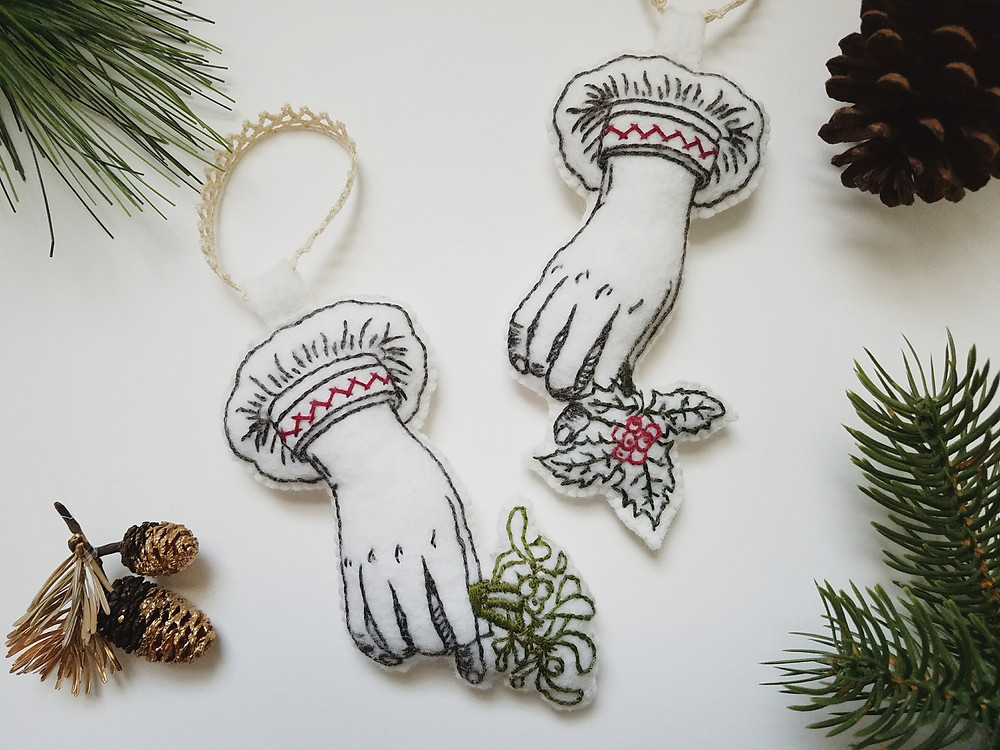 Victorian Style Hand-Embroidered Felt Ornaments | Grey's Posy