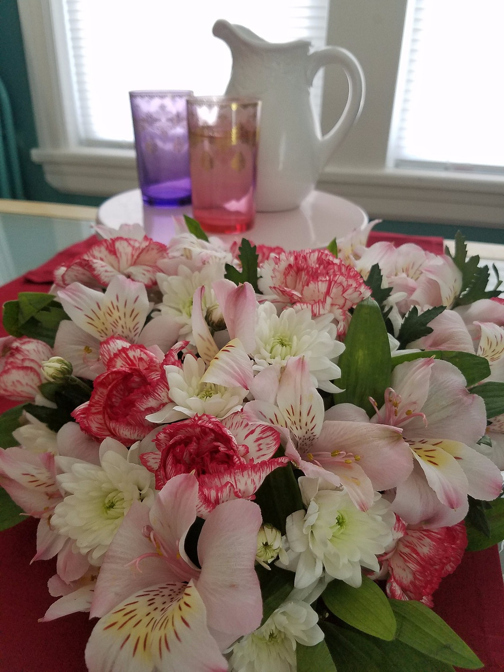 Heart Shaped Floral Centerpiece - Grey's Posy
