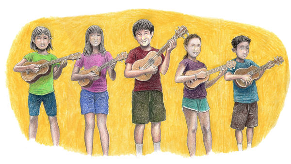 Ukulele Group Updated with Color Pencil