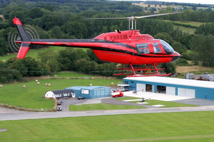 Jet Ranger over Shobdon Airfield