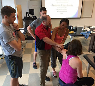 Fascial Distortion Model manual therap taught by FDM Academy at University of Incarnate Word Februar 15-17, 2019