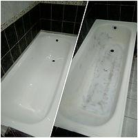 фотография реставрированной ванны до и поле