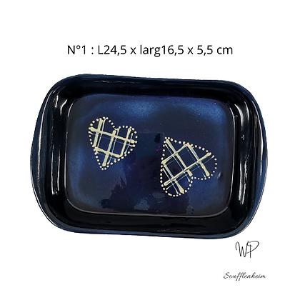 "Plat rectangulaire N°1 ""Bleu marine""."