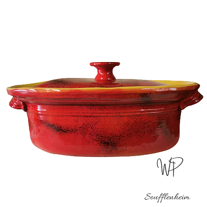 Terrine ovale 7 litres (8/10 pers. ) rouge.