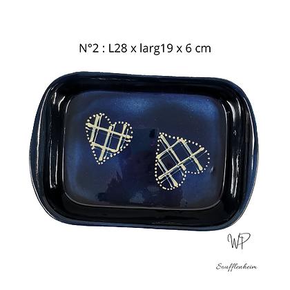 "Plat rectangulaire N°2 ""Bleu marine""."