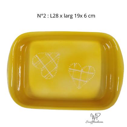 """Plat rectangulaire N°2 """"jaune""""."""