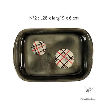 "Plat rectangulaire N°2 ""Gris""."