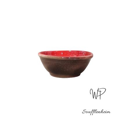 Coupelle ronde prune et rouge.