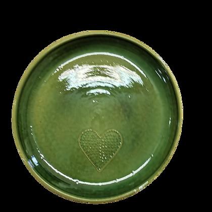 """Grande Assiette vert menthe décor """"cœur """""""