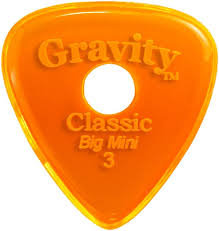 "Round Gravity Classic Pick: UNPOLISHED ""Big Mini""- 3mm-Orange"