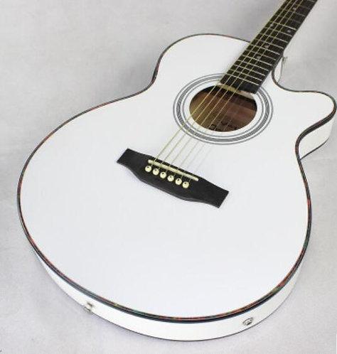 Thin Body Acoustic-Electric Guitar White Finishing Gloss Beginner