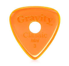 "Round Gravity Classic Pick: UNPOLISHED ""Mini""- 3mm-Orange"