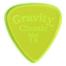 "Gravity Classic Pick: UNPOLISHED ""Mini""-1.5mm-Fluorescent Green"