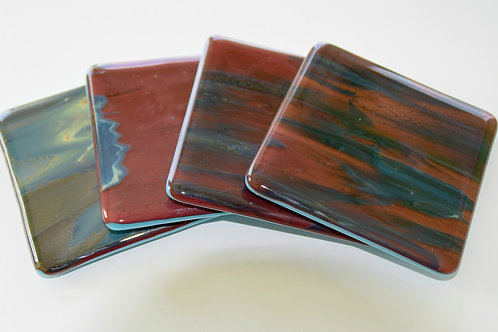 Coasters, Petrified Wood & Turquoise (sold as set of 4 or 2)