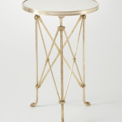 Round Directoire Table in Brass with White Marble Top