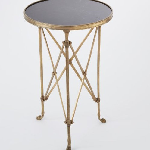 Round Directoire Table in Brass with Black Granite Top