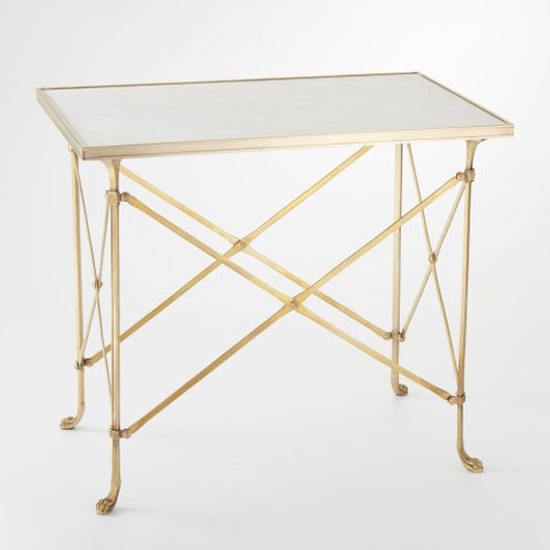 Rectangular Directoire Table in Brass with White Marble Top