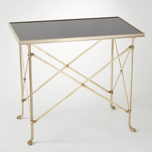 Rectangular Directoire Table in Brass with Black Granite Top