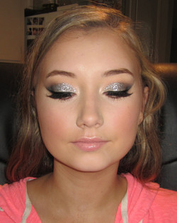 Silver Glitter Prom Makeup