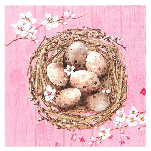 """Design servietter """"Nest with egg's Dusty Rose"""" 33 x 33 cm 3-lag 20 stk."""