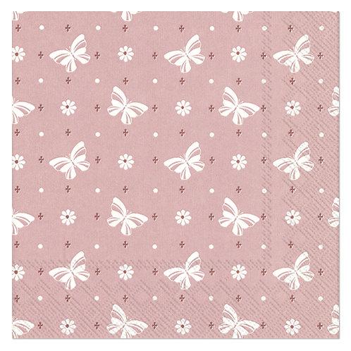 """Design servietter 3-Lag """"Butterflies Woodrose"""" 33 x 33 cm 20 stk."""