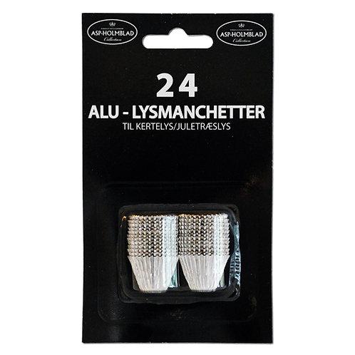 Alumanchetter 24 stk. Sølv/Guld til kertelys/juletræslys