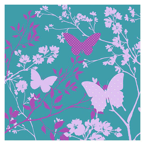 """Storkøb servietter """"Romantic Butterflies Turquoise"""" 33 x 33 cm 3-lag 240 st"""