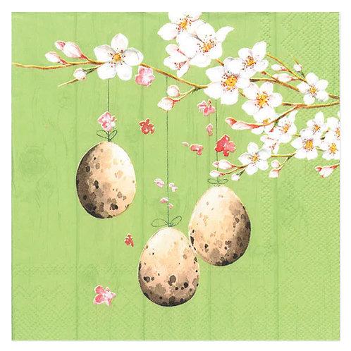 """Design servietter """"Egg's on branch Dusty Green"""" 33 x 33 cm 3-lag 20 stk."""