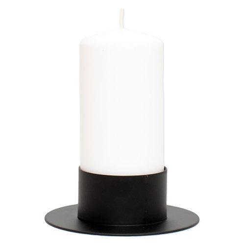 Metal lysestage sort - passer til stearinlys med diameter 6,8 cm