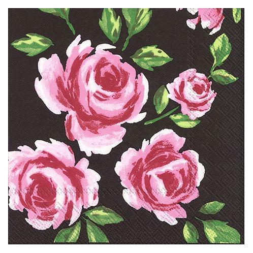 """Storkøb servietter """"Pustza Flower Black"""" 33 x 33 cm 3-lag 240 st"""