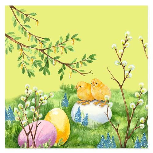 """Design servietter """"Easter Meadow Dusty Green"""" 33 x 33 cm 3-lag 20 stk."""
